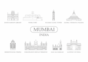 Mumbai landmärke ikon vektor