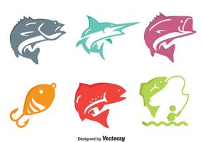Färgglada Fiske Fisk Ikoner Vector