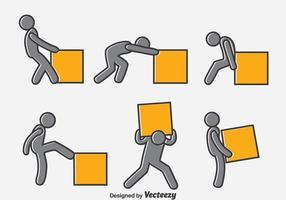 Man Pushing Box Vektor