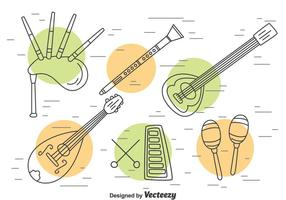 Traditionelle Musik Instrument Gliederung Vektor