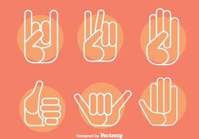 Hand Gestures Ikoner Vector