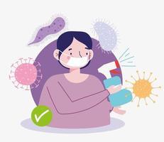 man med ansiktsmask och desinfektionsspray