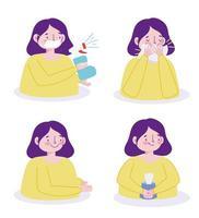 kvinna karaktär förhindrar viral infektion ikonuppsättning