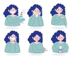 kvinnlig karaktär som förhindrar viral infektion ikonuppsättning