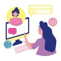 Frauen, die per Videoanruf einen Dialog führen vektor