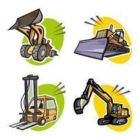 uppsättning bulldozer, grävmaskin och gaffeltruck
