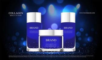 blå glitter och belysningseffekt för kosmetikreklam