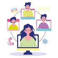 Online-Treffen mit Menschen auf Computerbildschirmen
