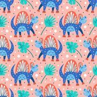 blaue Dinosaurier und Palmblätter