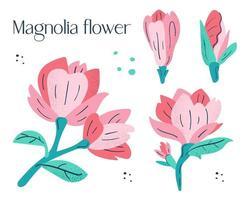kleine rosa Magnolienblüten gesetzt. vektor
