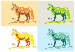Den Färgglada Foxen i Vector Popart