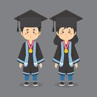 karaktärer som bär examensdräkter