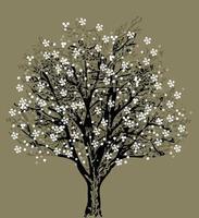 träd silhuett med vita blommor vektor