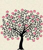 Weinlesekarte mit Blumenbaum