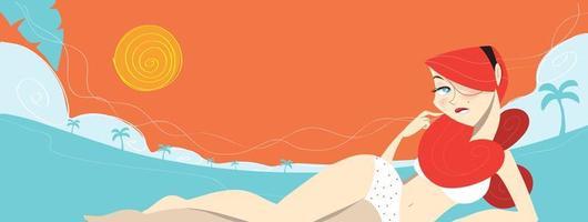 rödhårig tjej som lägger på stranden