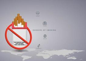 ingen rökningsdesign med världskarta och paket vektor