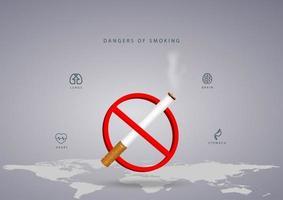ingen rökning dag design med världskarta och cigarett vektor