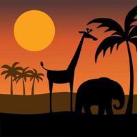 Elefanten- und Giraffensilhouette mit Sonnenuntergang vektor