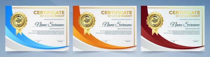 certifikat med uppsättning med orange, blå och röd kurvform