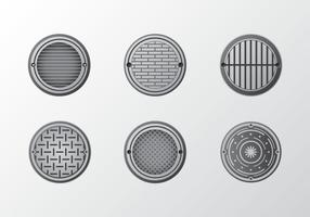 Metal manhål mönster vektor pack