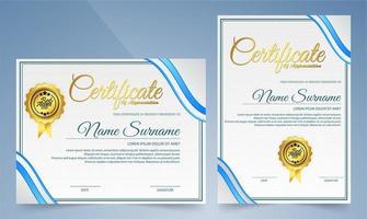 certifikat för eleganta moderna blå mallar