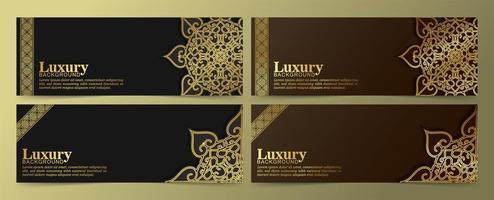 lyxiga gyllene mandala banners på svart och brunt