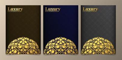 bruna, blå och grå lyxiga gyllene mandala-omslag vektor