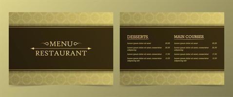 gyllene mönstrade restaurangmeny vektor