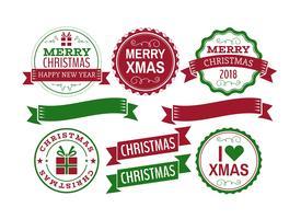 Julvektor märken och etiketter