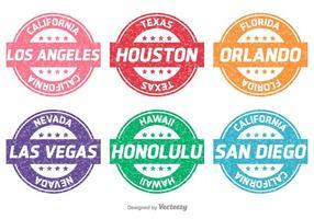Städte und Staaten Vektor Briefmarken