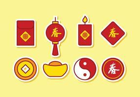 Gratis kinesisk ikonuppsättning vektor