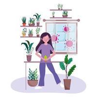 junge Frau mit Topfpflanzen drinnen