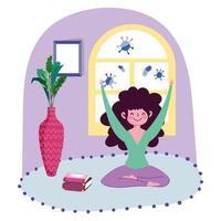 ung flicka som utövar yoga inomhus