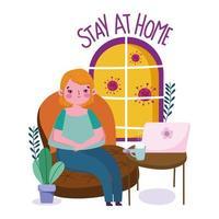 Frau zu Hause unter Quarantäne gestellt