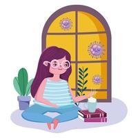junge Frau, die Tee während der Quarantäne trinkt