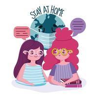 junge Mädchen plaudern mit zu Hause bleiben Schriftzug