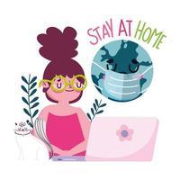 junges Mädchen mit Katze und traurigem Globus