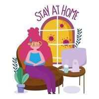 ung kvinna i karantän hemma