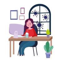 kvinna som arbetar hemifrån under karantän