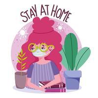 ung flicka som bär ansiktsmask, stanna hemma banner