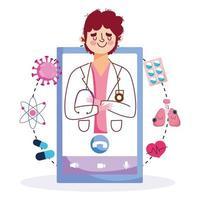 Online-Pflege mit männlichem Arzt auf dem Telefonbildschirm vektor
