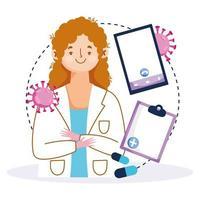 online-vård hos en kvinnlig läkare vektor