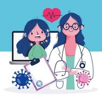 sjuk patient som besöker läkaren online vektor