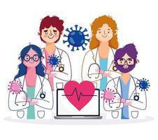 Online-Gesundheitspersonal mit Laptop und Stethoskop vektor