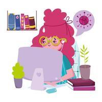 ung kvinna på datorn