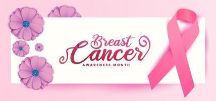 bröstcancermedvetenhetsdesign med blommor och band