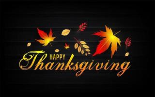 glad tacksägelsetekst med höstlöv på svart
