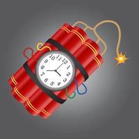 Dynamit mit brennender Sicherung und Timer