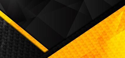abstrakter gelber, schwarzer geometrischer überlappender Hintergrund vektor