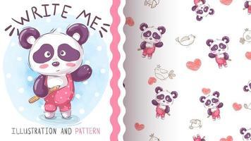 Aquarell Panda Charakter und nahtloses Muster